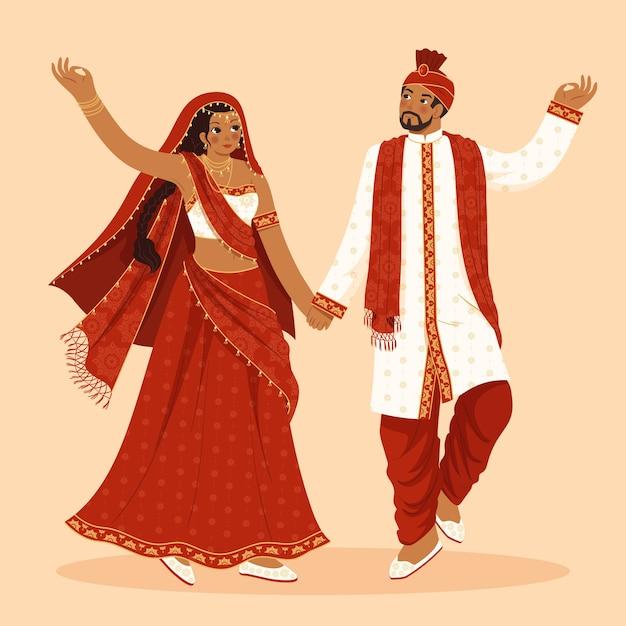 Roupa indiana tradicional com mulher e homem Vetor grátis