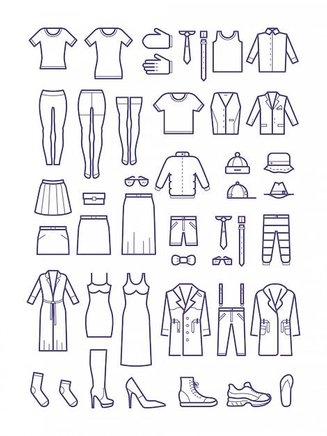 Roupas casuais masculinas e femininas, ícones de contorno de vestuário Vetor Premium