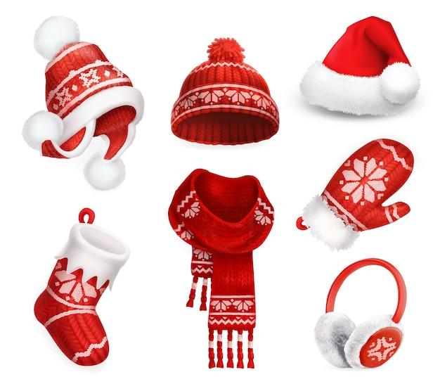 Roupas de inverno. boné de meia de papai noel. chapéu em malha. meia de natal. cachecol. mitten. protetor de ouvido. ícone de vetor 3d Vetor Premium