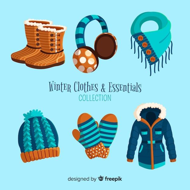 Roupas de inverno e coleção de essenciais Vetor grátis