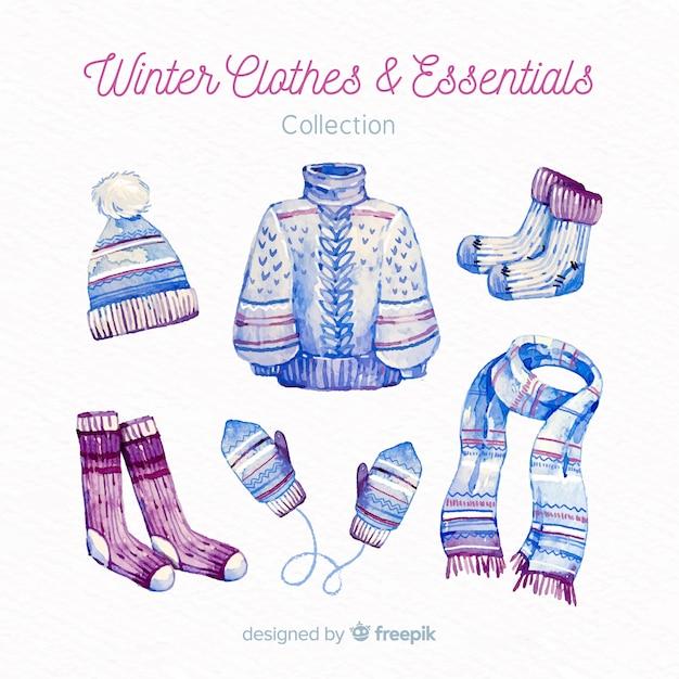 Roupas de inverno e coleção de itens essenciais Vetor grátis