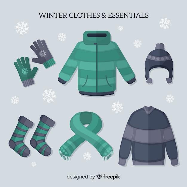Roupas de inverno e essenciais Vetor grátis