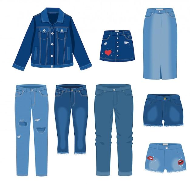Roupas de jeans. moda na moda rasgou a ilustração de roupas casuais de jeans, modelos de roupas jeans roupa isolados no fundo branco. jeans, saias jeans, shorts, jaqueta. Vetor Premium