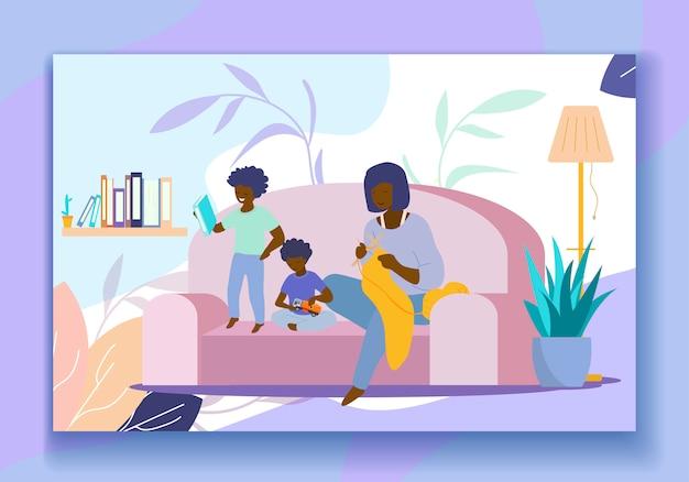 Roupas de tricô mãe, filhos jogando e leitura Vetor Premium