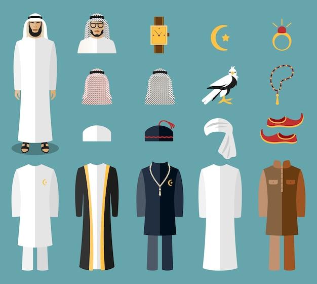 Roupas e acessórios do homem árabe. pano árabe, pano tradicional, pano do islã árabe. ilustração vetorial Vetor grátis