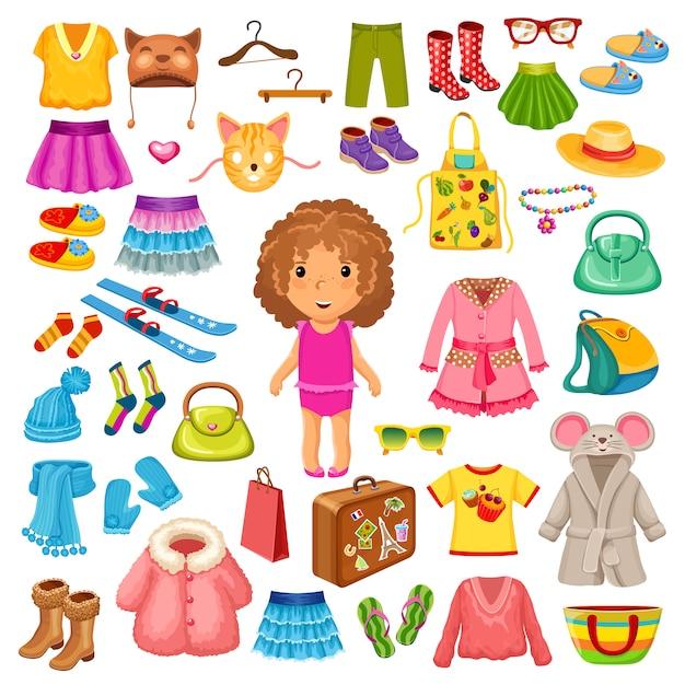 Roupas e acessórios para crianças. Vetor Premium