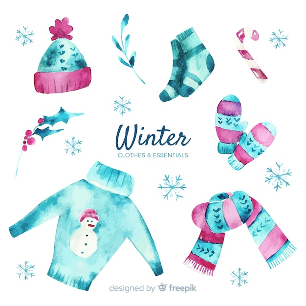 Roupas e itens essenciais de inverno em aquarela Vetor grátis