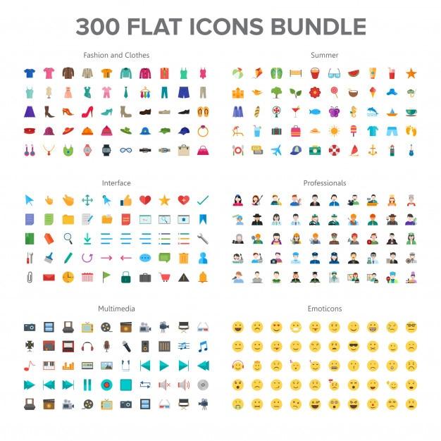 Roupas e moda, multimídia, verão, profissionais e emoticons 300 flat icons bundle Vetor Premium