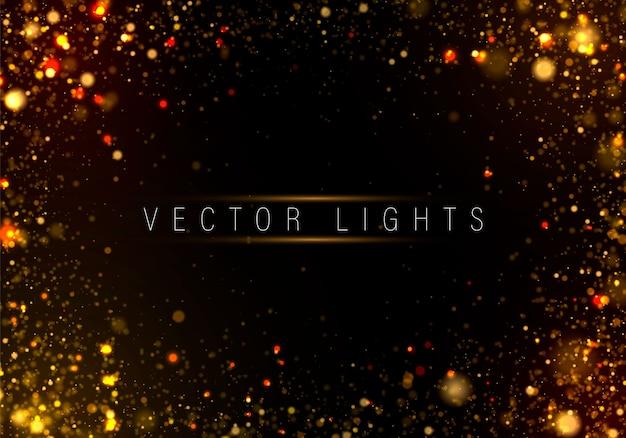 Roxo, dourado luminoso fundo luzes coloridas bokeh Vetor Premium