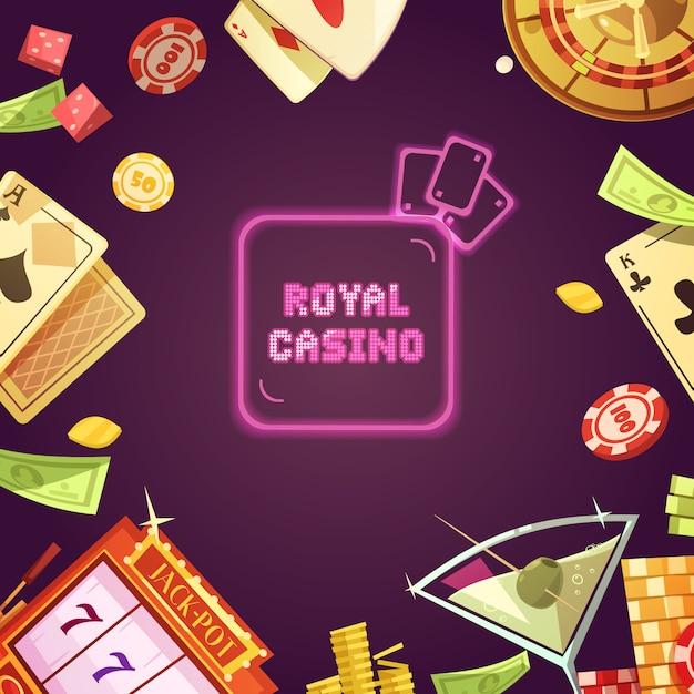 Royal casino com ilustração de caça-níqueis Vetor grátis