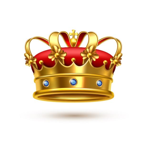 Royal crown gold velvet realistic Vetor Premium
