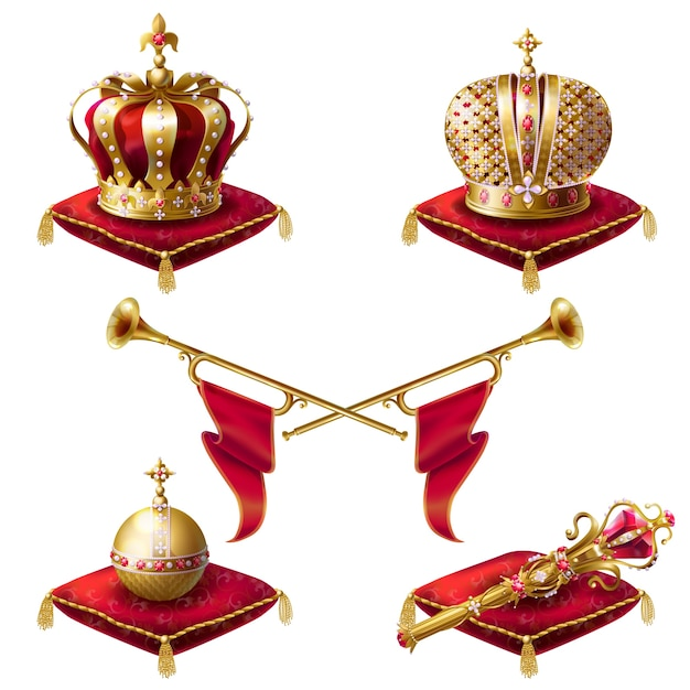 Royal crowns, scepter and orb realistic Vetor grátis