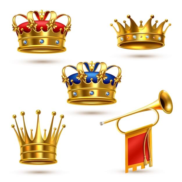 Royals crowns horn coleção realista Vetor grátis