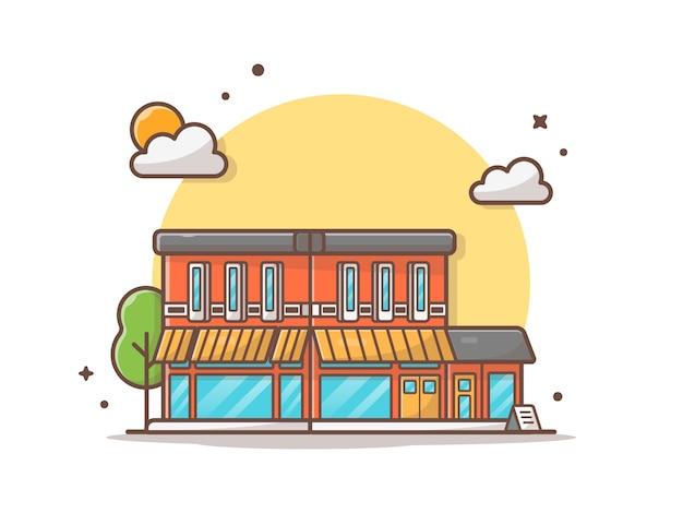 Rua café edifício vector icon ilustração Vetor Premium