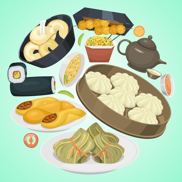 Rua chinesa, restaurante ou menu étnico de comida caseira. prato de prato asiático. Vetor Premium