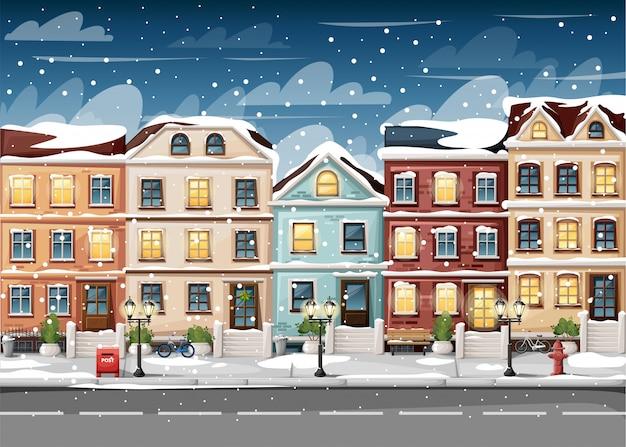Rua coberta de neve com casas coloridas, banco de luzes de hidrantes, caixa de correio vermelha e arbustos em vasos, página do site de ilustração de estilo de desenho animado e aplicativo móvel Vetor Premium