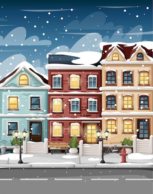 Rua coberta de neve com casas coloridas, banco de luzes de hidrantes e arbustos em vasos, página do site de ilustração de estilo de desenho animado e aplicativo móvel Vetor Premium