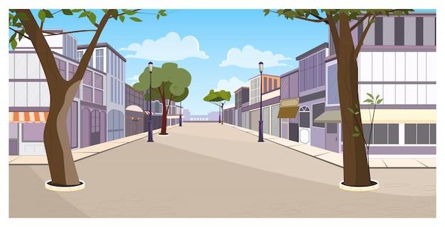 Rua da cidade com edifícios, árvores e pavimento vazio Vetor grátis