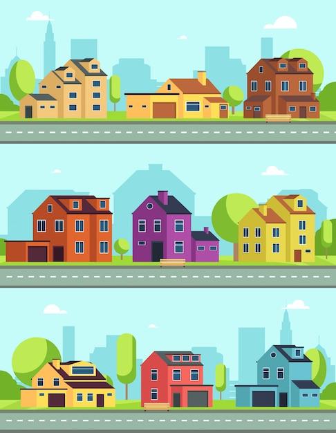 Rua da cidade com edifícios, estrada suburbana e casas, casas de campo. paisagens urbanas horizontais sem emenda do vetor Vetor Premium