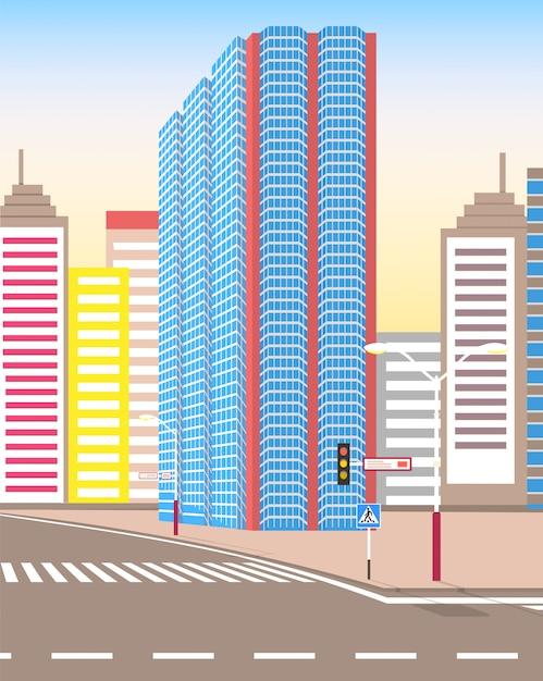 Rua da cidade moderna, olhar realista da cidade tranquila Vetor Premium