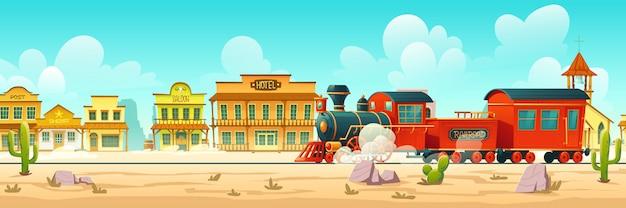 Rua da cidade ocidental de vetor e trem a vapor Vetor grátis