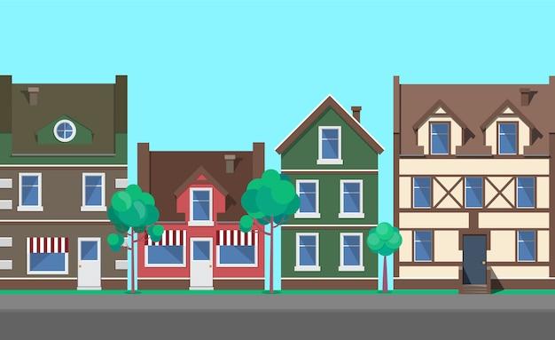 Rua da cidade velha, cidade com vetor de arquitetura Vetor Premium