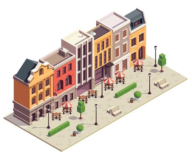 Rua moderna vista isométrica da cidade com 5 casas geminadas coloridas lanternas bancos mesas de bistrô ao ar livre Vetor grátis