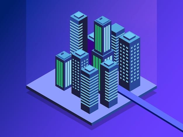 Ruas da cidade conectadas a rede de computadores. Vetor Premium