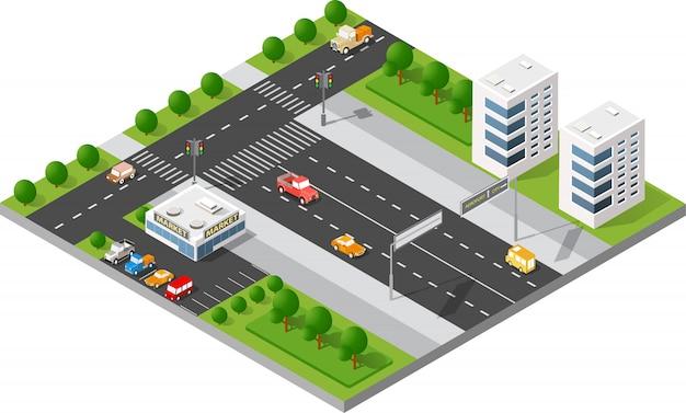 Ruas da cidade de transporte Vetor Premium