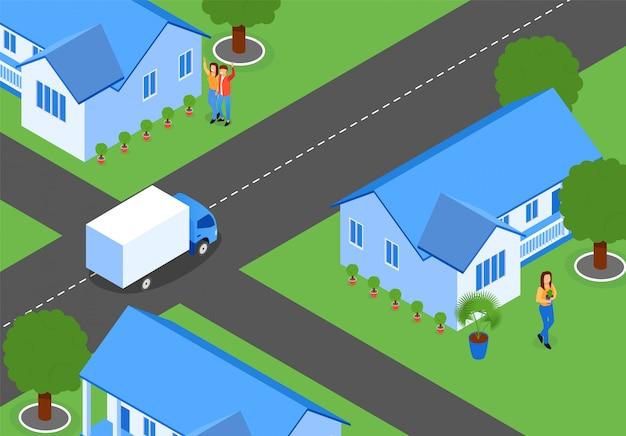 Ruas de cidade plana com novas casas, isométrica. Vetor grátis