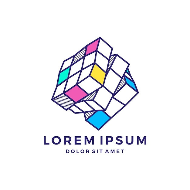 Rubik logo crypto blockchain Vetor Premium