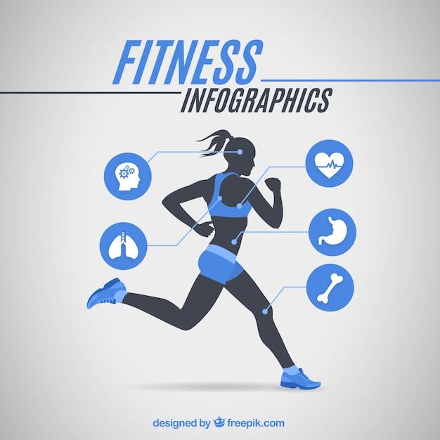 Runner menina infografia Vetor grátis