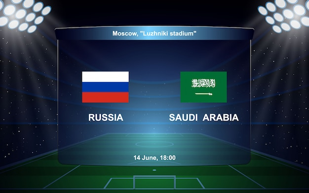 Rússia vs arábia saudita. f Vetor Premium
