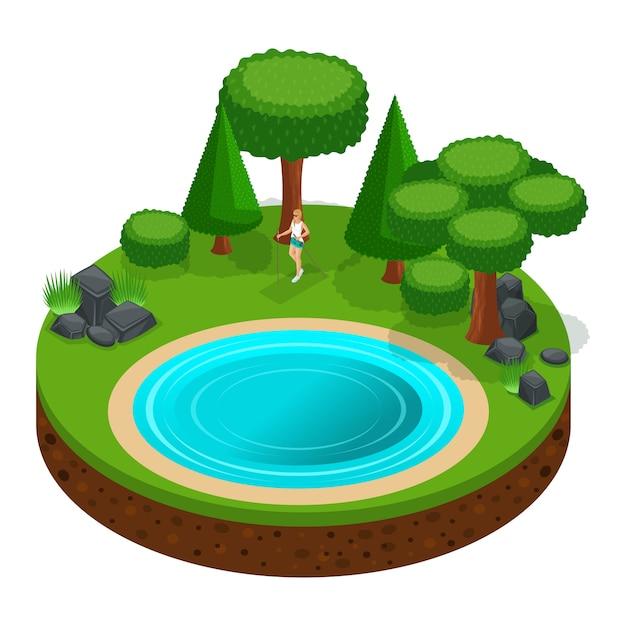 S camping, menina andando, passeio escandinavo pela floresta ao ar livre, natureza, lago, floresta, montanhas, árvores Vetor Premium