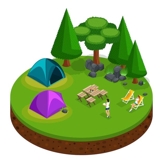 S camping, recreação ao ar livre, meninas relaxando, natureza, lago, floresta, barraca, fogueira, montanhas, árvores Vetor Premium