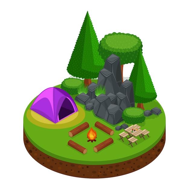 S camping, recreação ao ar livre, natureza, lago, floresta, barraca, fogueira, montanhas, árvores Vetor Premium