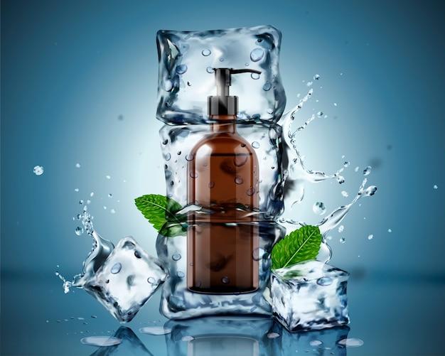 Sabão corporal congelado em cubos de gelo com folhas de hortelã e respingos de água no fundo azul Vetor Premium