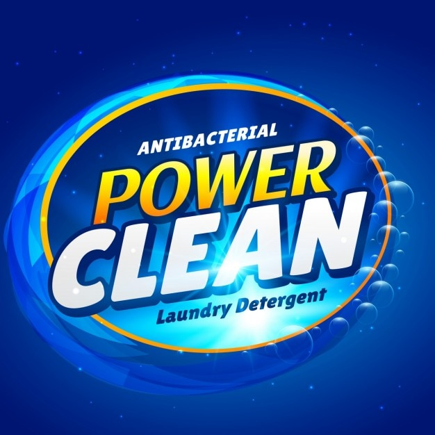 Sabão e design launry modelo de embalagem do produto detergente líquido de limpeza Vetor grátis