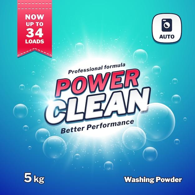 Sabão em pó, modelo de embalagem de detergente Vetor Premium