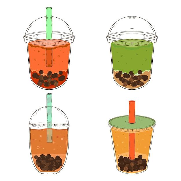 Sabores de chá de bolha desenhados à mão Vetor grátis