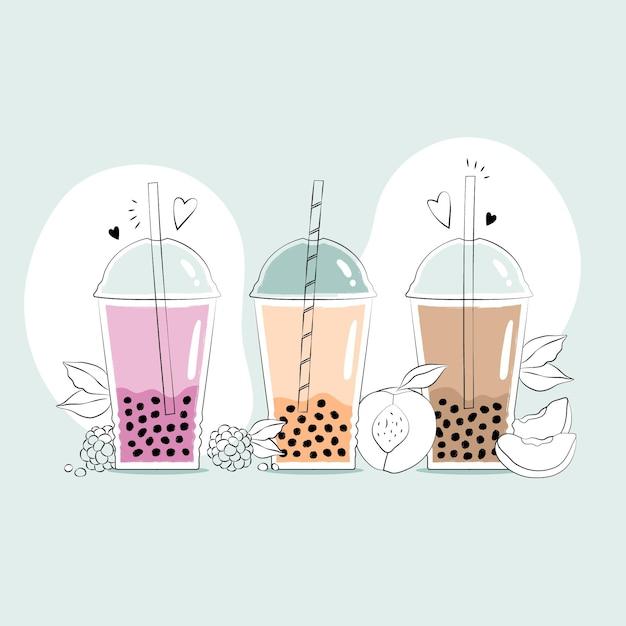 Sabores de chá de bolha desenhados à mão Vetor Premium