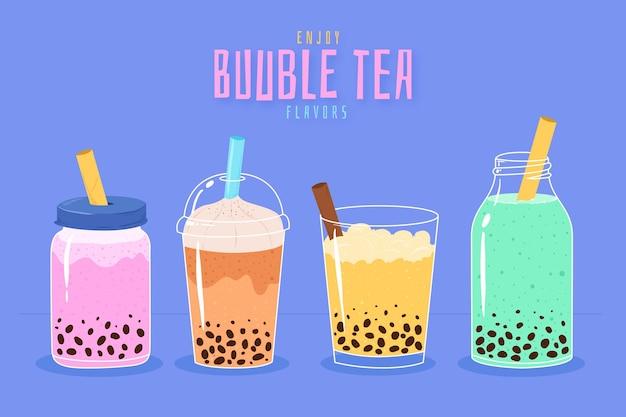 Sabores de chá de bolhas desenhados à mão Vetor grátis