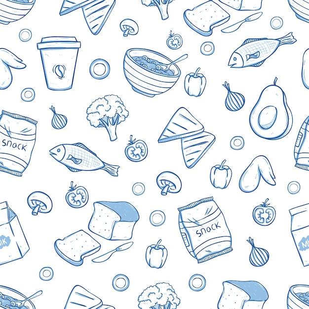 Saborosa comida de café da manhã no padrão sem emenda com estilo doodle Vetor Premium