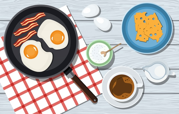 Saboroso café da manhã em uma mesa de madeira em vetor. omelete com bacon, queijo e café. mulher amassa a massa sobre uma mesa azul. vista de cima. cozinhar pizza. ingredientes em cima da mesa. ilustração Vetor Premium