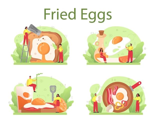 Saborosos ovos fritos com legumes e bacon no café da manhã. ovos mexidos. comida deliciosa pela manhã. gema amarela. isolado Vetor Premium
