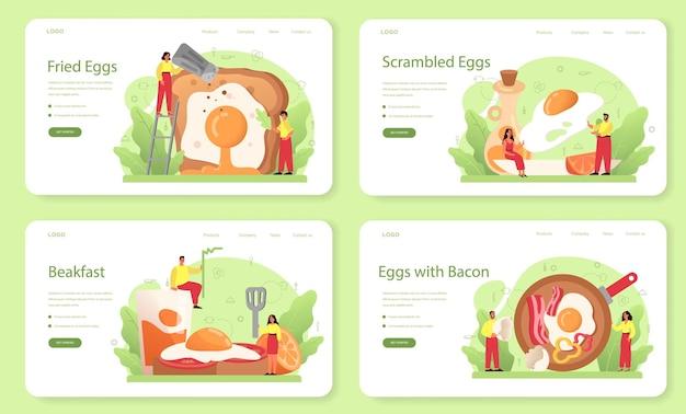 Saborosos ovos fritos com legumes e bacon para o conjunto de banner ou página de destino do café da manhã. Vetor Premium