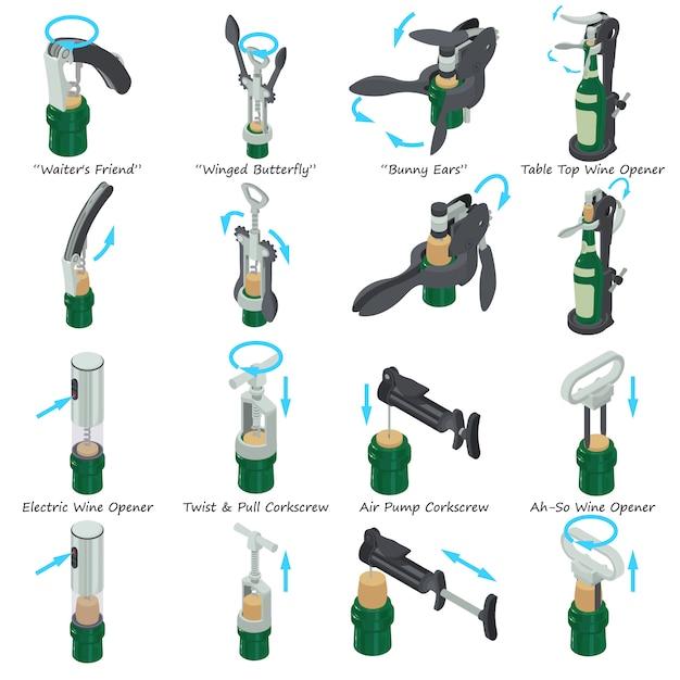 Saca-rolhas tipos conjunto de ícones. ilustração isométrica de 9 tipos de saca-rolhas vetor ícones para web Vetor Premium
