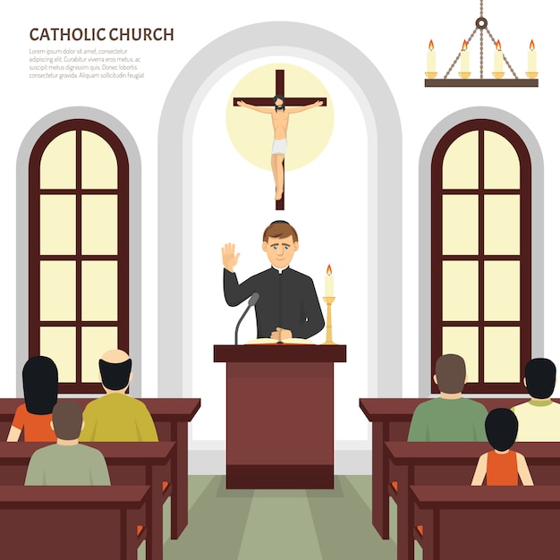 Sacerdote da igreja católica Vetor grátis