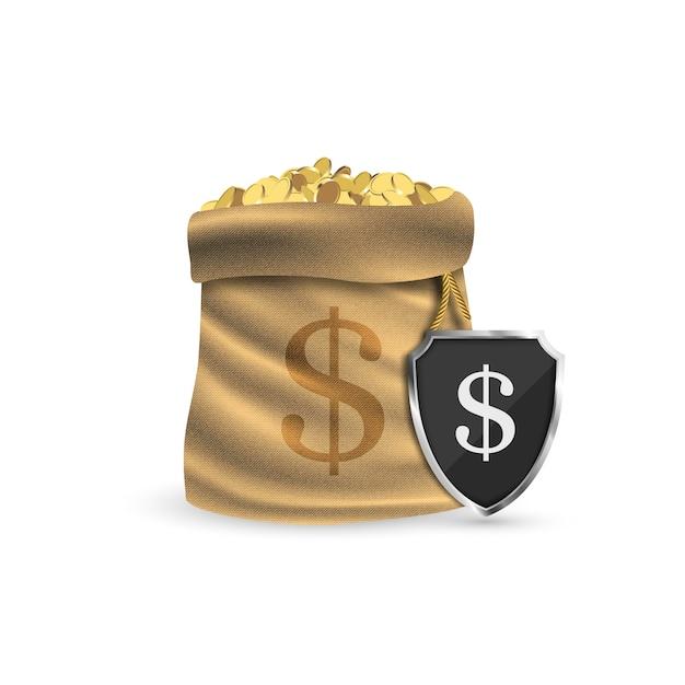 Saco cheio de moedas de ouro. protegendo seu dinheiro. Vetor Premium
