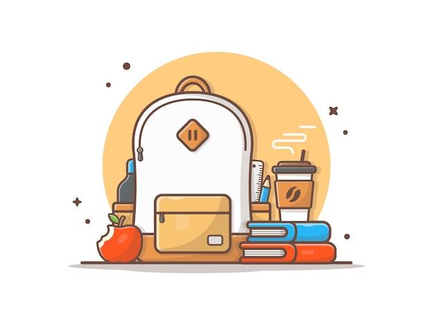 Saco com maçã, livros e café icon ilustração Vetor Premium